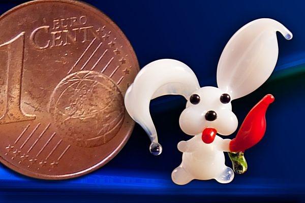 Glasfigur Glashase Mini - Hase aus Glas weiß