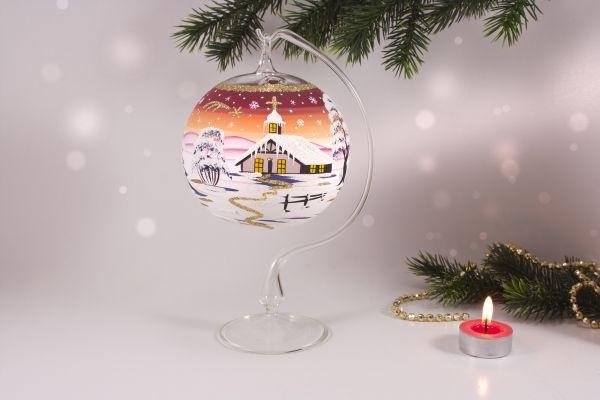 Teelichtkugel 12 cm mit Glasständer im Set rot - orange