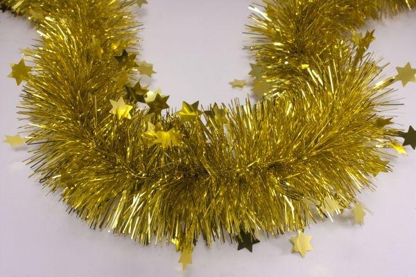 Girlande mit Sternen gold 70mm x 3m
