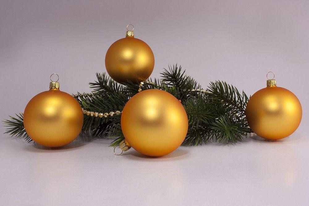 4 große Weihnachtskugeln 10cm Gold matt uni