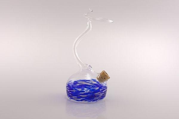 Tintenvase mit Federhalterung für Glasschreiber blau