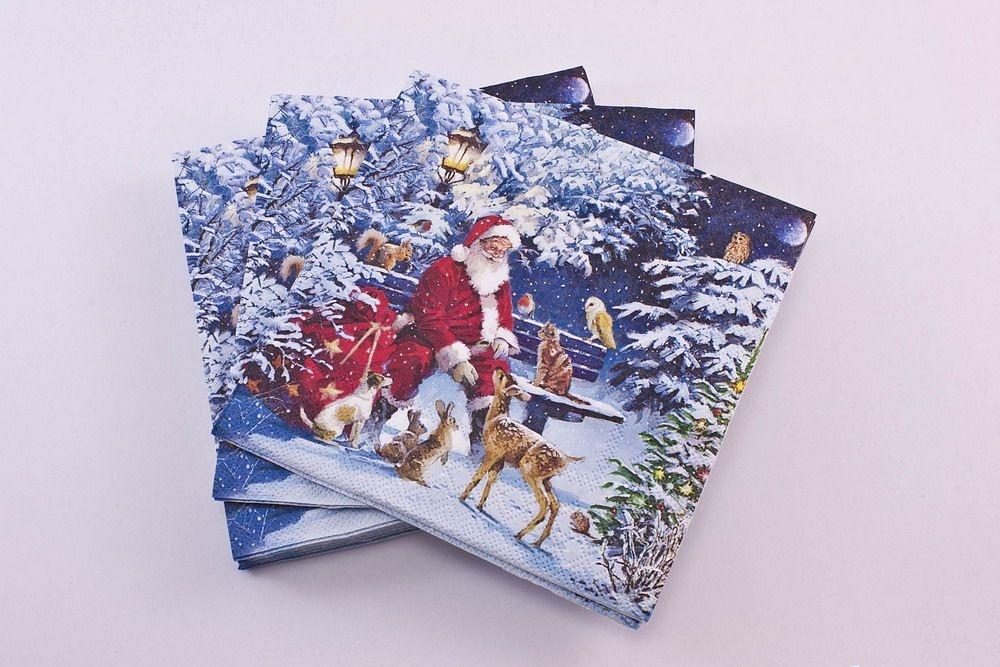 20 Weihnachtsservietten Santas Tierbescherung
