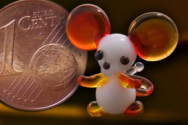 Glasfigur Glasmaus Mini-Maus aus Glas rot
