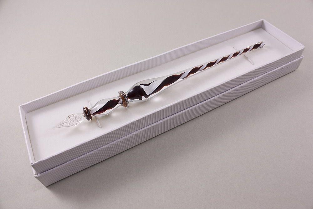 Glasschreiber Glasfederhalter dunkelrot weiß transparent