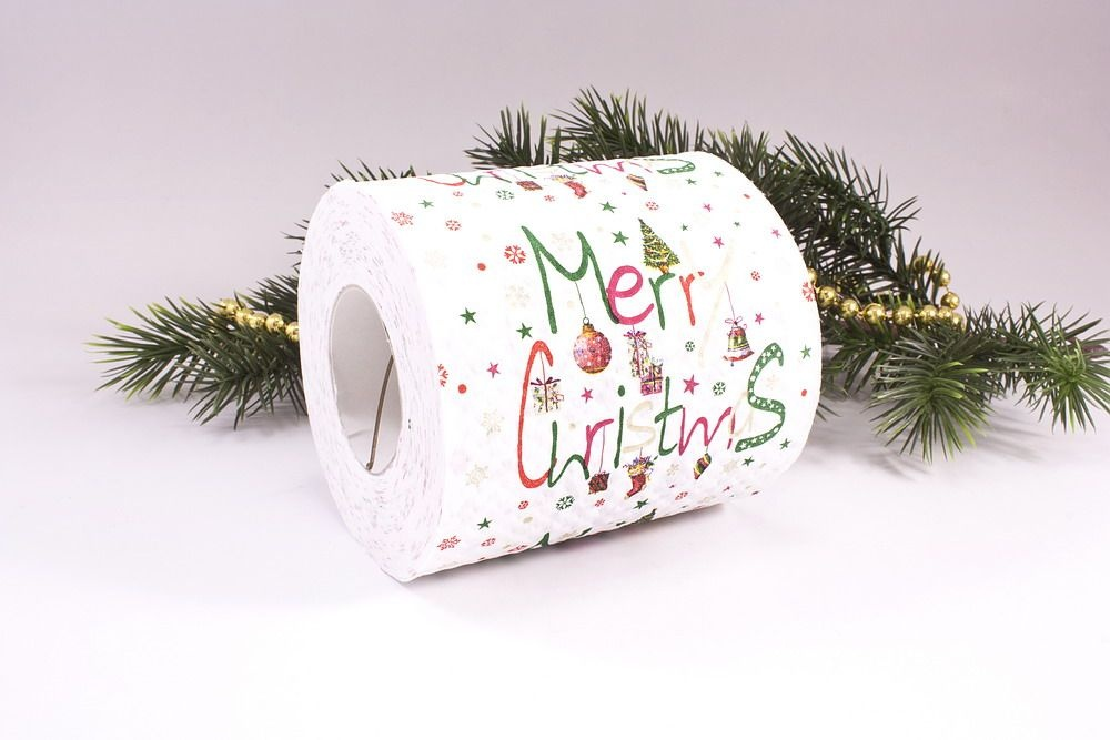 1 Rolle Toilettenpapier bedruckt Merry Christmas