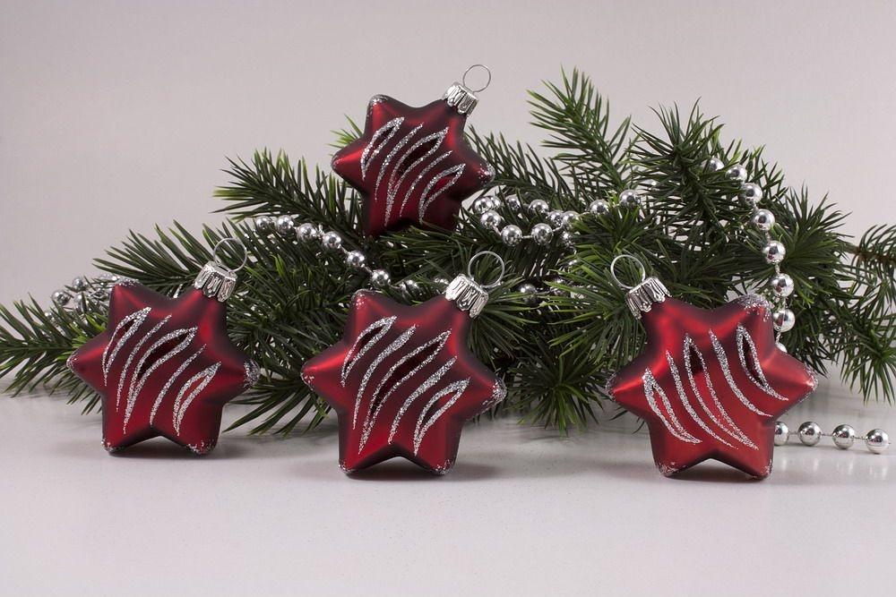 4 sterne rot matt antik silber gst christbaumkugeln christbaumschmuck und weihnachtskugeln. Black Bedroom Furniture Sets. Home Design Ideas