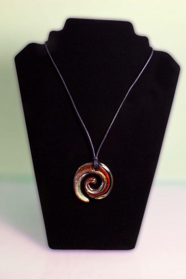 Glasschmuck Spirale aus Glas rot orange