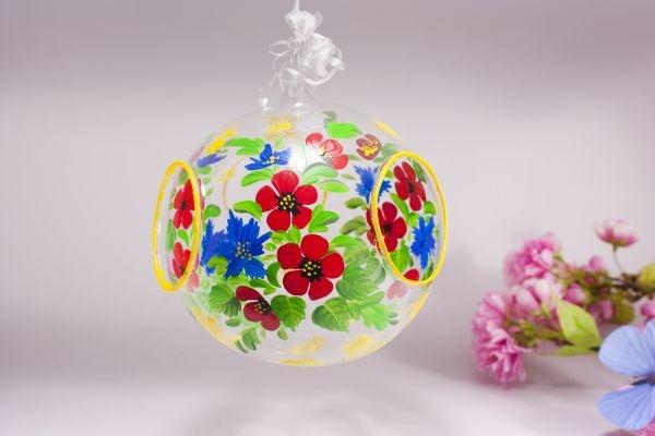 Fensterkugel Glaskugel Mohn und Kornblume inkl. Led-Teelicht