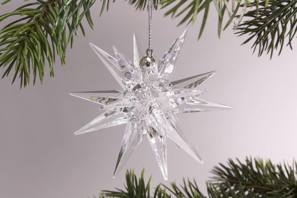 3D-Stern 7,5cm kristallklar mit Schlaufe