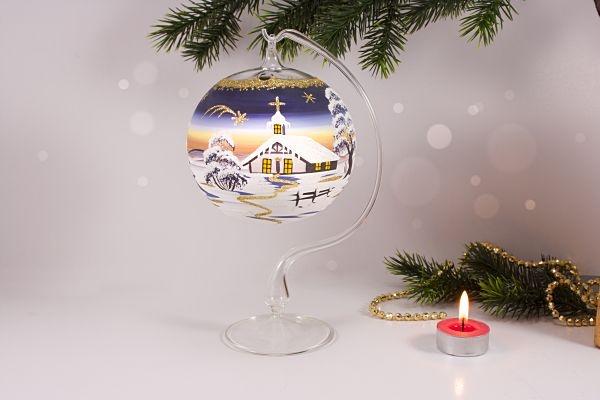 Teelichtkugel 12cm mit Glasständer im Set nachtblau su
