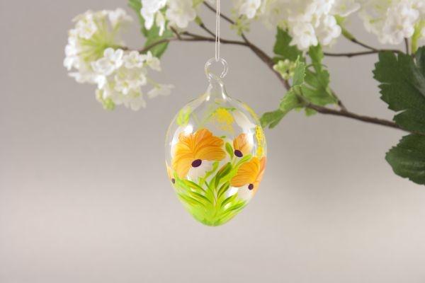 Ostereier aus Glas mit oranger Blume ca. 5 cm