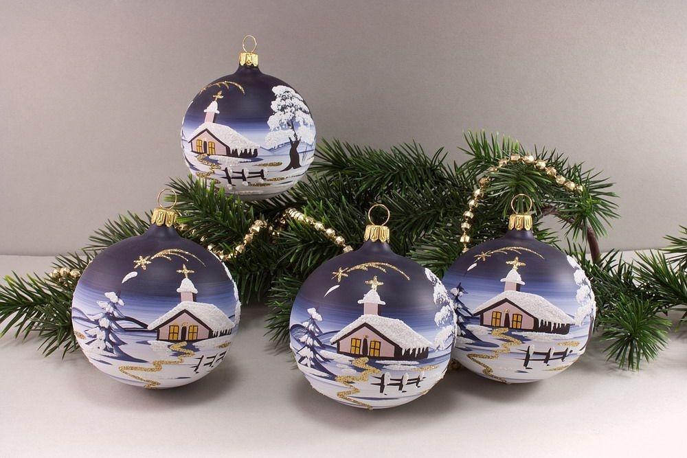 Weihnachtskugeln Glas Lauscha : 4 kugeln 8cm mit landschaft nachtblau christbaumkugeln ~ A.2002-acura-tl-radio.info Haus und Dekorationen