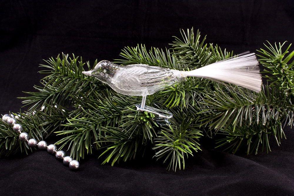1 Vogel aus Glas transparent mit Silberglitter