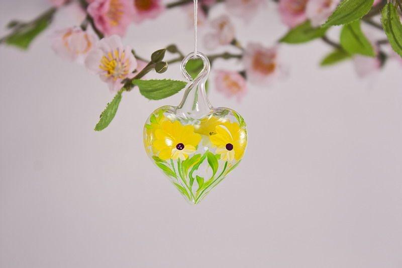 Mini-Herz 3,5 cm Miniatur Herz aus Glas Glasherz gelb