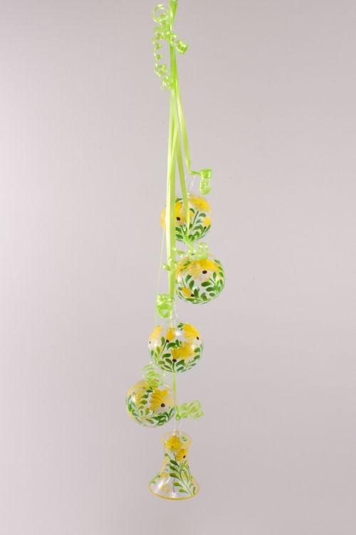 Dekoration aus Glas - Gebinde mit Glocke Blume gelb