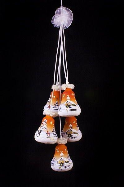 Glockengehänge Winterlandschaft beleuchtet orange 5tlg.