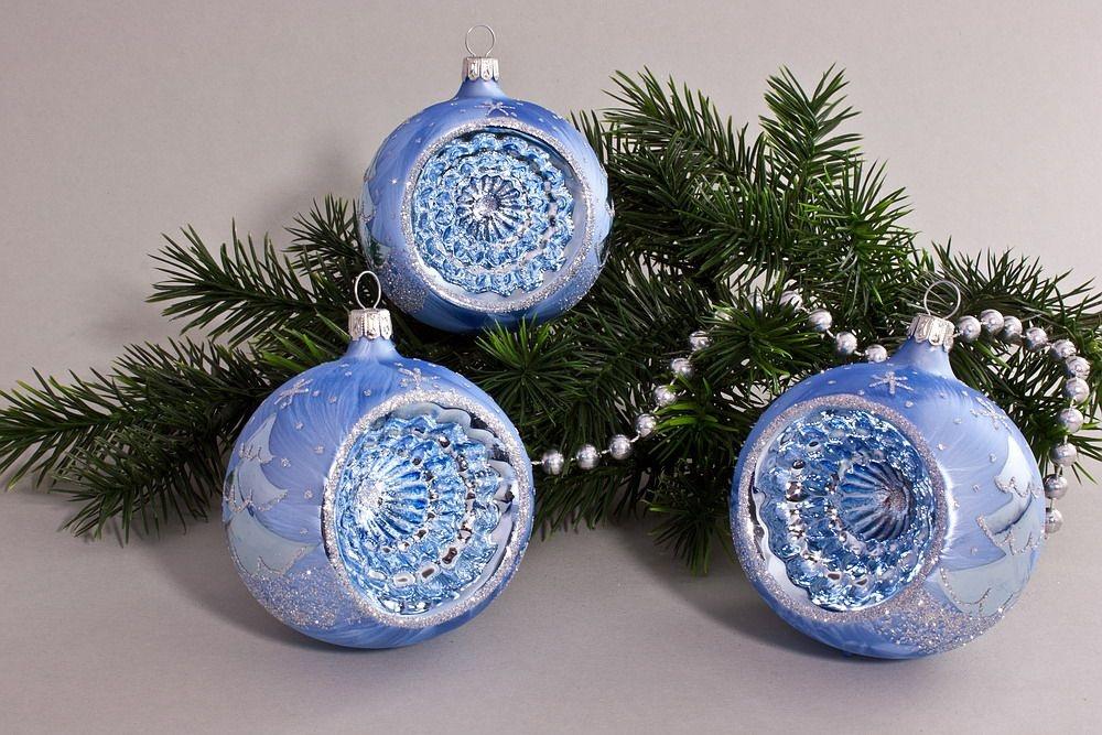 3 Reflexkugeln 8 cm Eisblau silberne Tanne