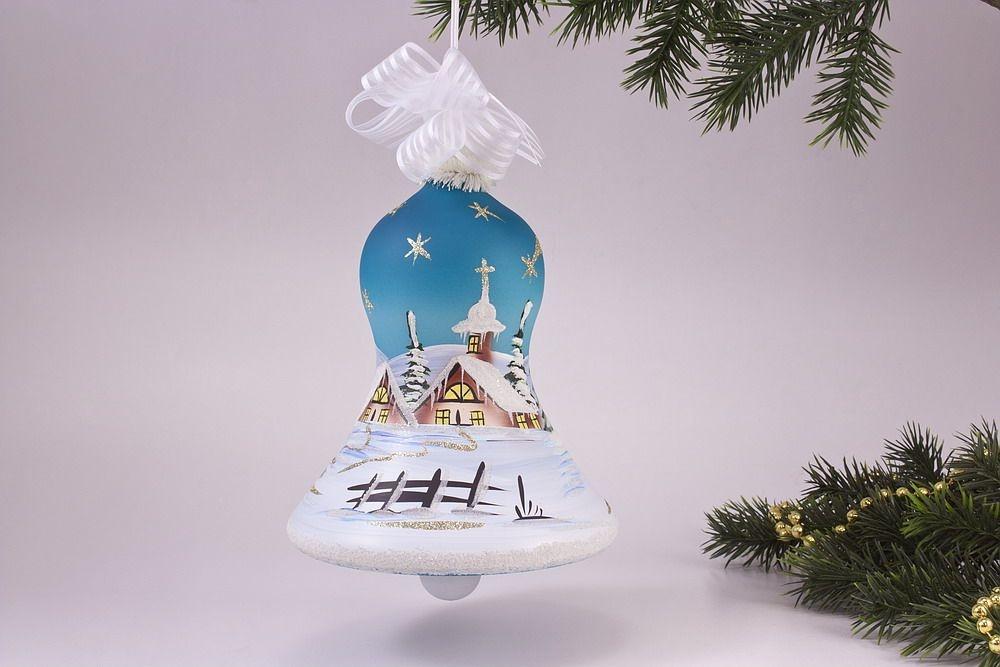 beleuchtete Glocke 16cm mit Winterlandschaft in türkis