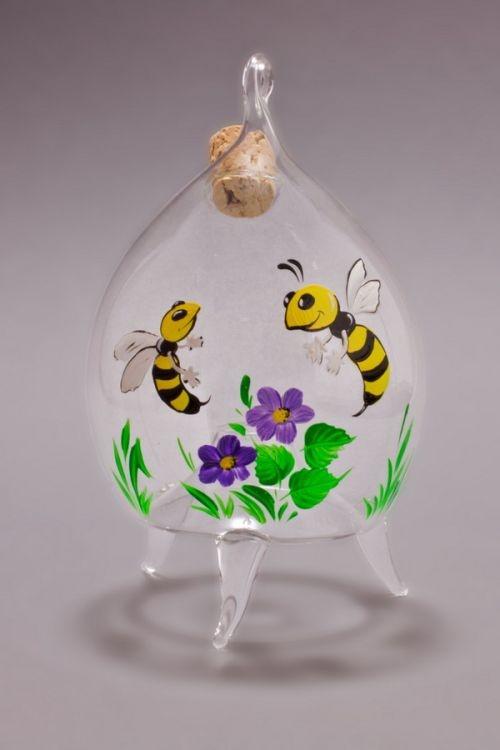 dekorative Fliegenfalle aus Glas Motiv violett