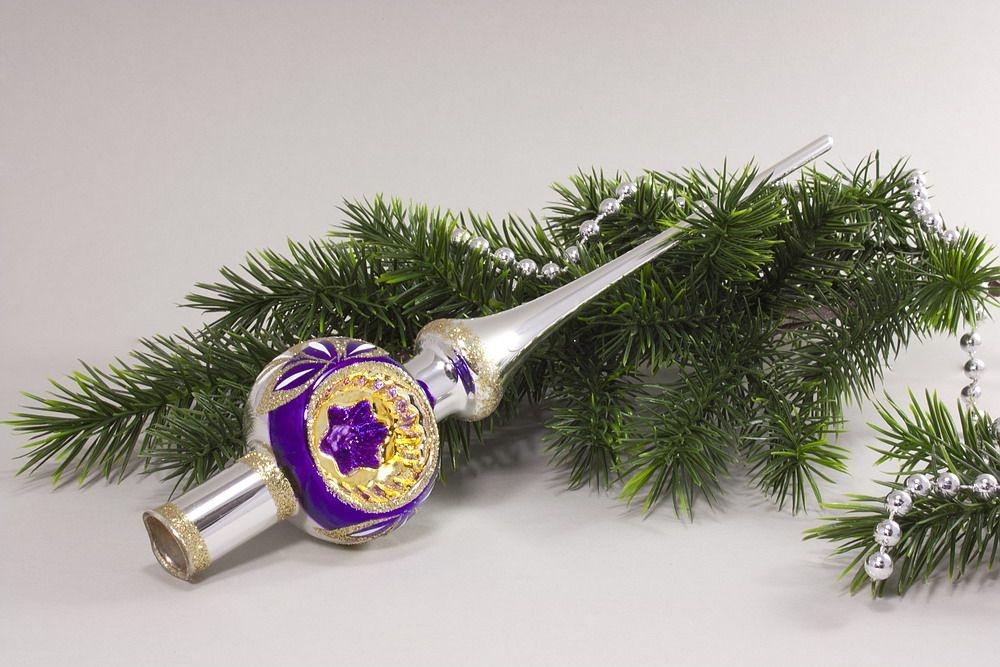 Christbaumspitze Silber Reflex lila Ring