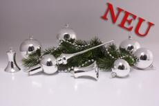 Set Weihnachtskugeln Silber Glanz uni