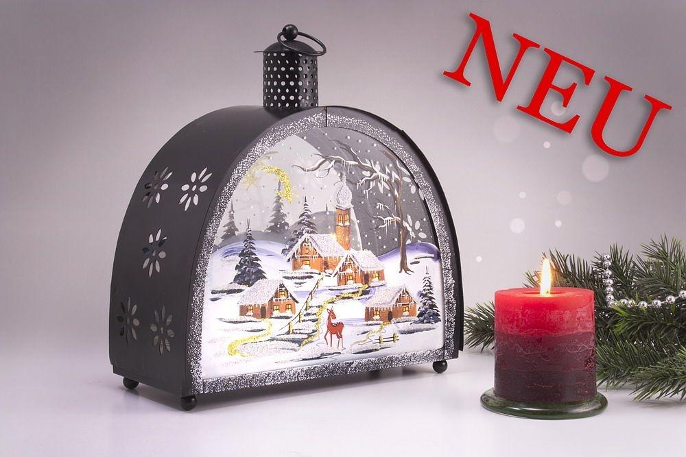 handbemalte Laterne mit Winterlandschaft neues Motiv