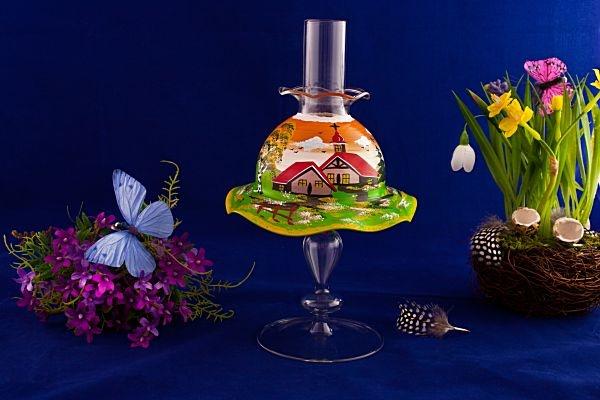 Teelichthalter Set Lampe mit Schirmchen in orange
