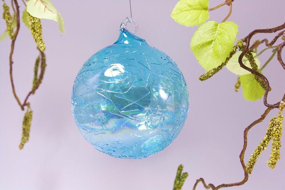Glaskugel 8cm in Seifenblasenoptik türkis