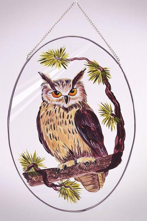 Glasscheibe zum aufhängen mit handgemaltem Motiv Eule