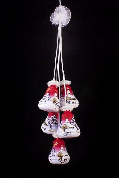 Glockengehänge mit Winterlandschaft beleuchtet rot 5tlg.