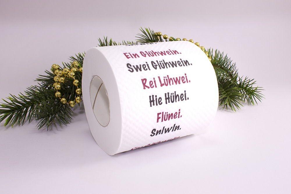 1 Rolle Toilettenpapier bedruckt Glühwein