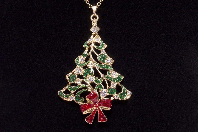 Halskette Tannenbaum mit 16 Zirkonia und roter Schleife XL