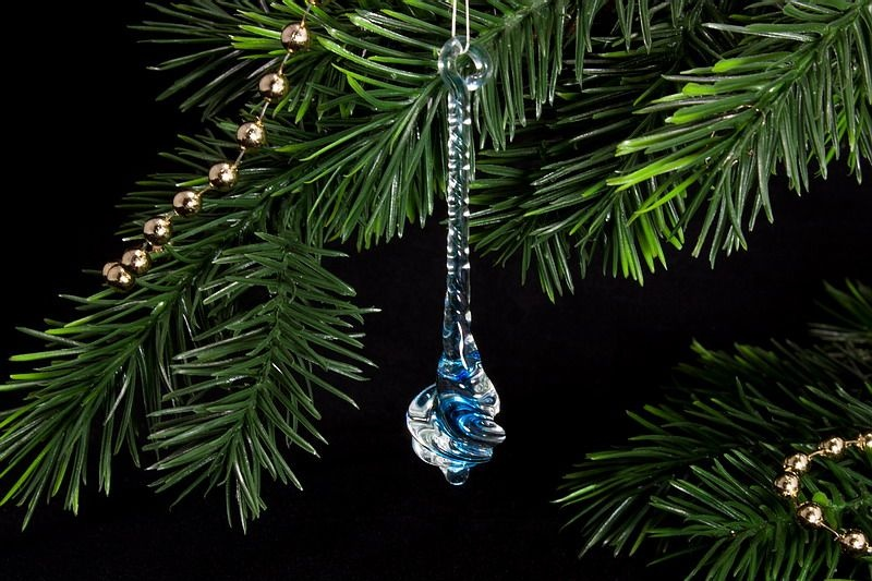 Glastropfen ca 8 cm x 2 cm gedreht mit farbkern hellblau for Glasdekoration neu
