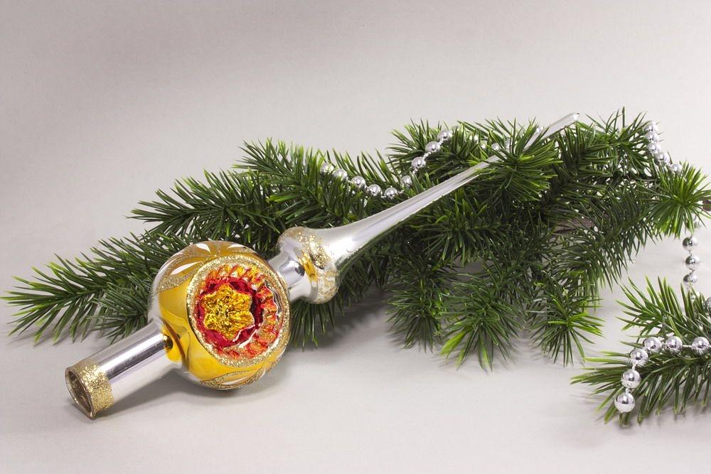 Christbaumspitze Silber Reflex gold