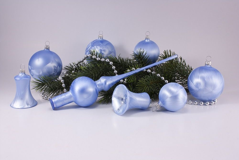 21teiliges set eishellblau uni christbaumkugeln christbaumschmuck und weihnachtskugeln aus glas. Black Bedroom Furniture Sets. Home Design Ideas