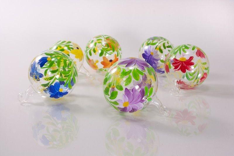 6 bunt bemalte glaskugeln 5cm im set christbaumkugeln for Bunte lampenschirme aus glas