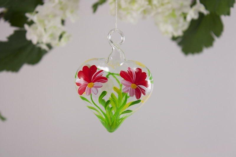 Glasherz 5 cm Herz aus Glas - Blume rot