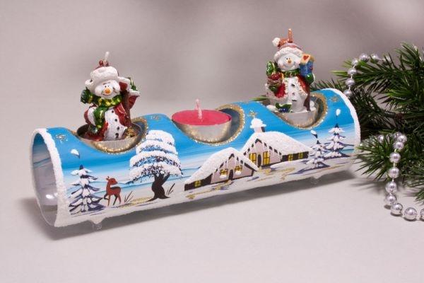 Teelichthalter Glasröhre Winterlandschaft türkis