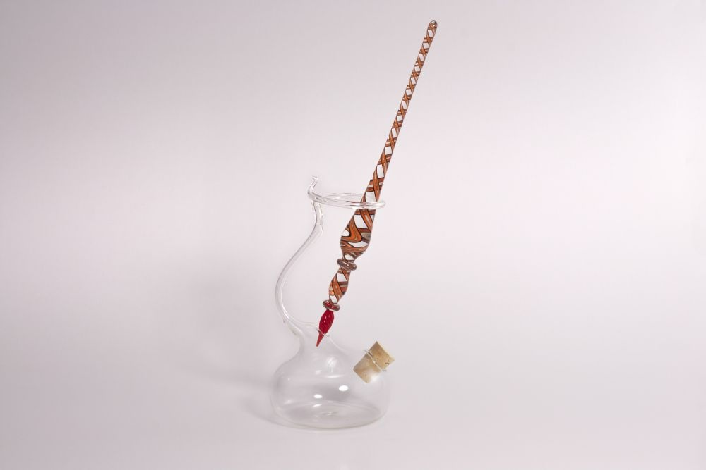 Set Glasschreiber Glasfederhalter orange schwarz rot