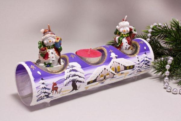 Teelichthalter Glasröhre Winterlandschaft violett