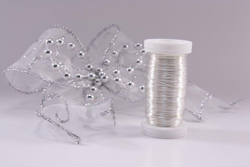 1 Rolle Dekodraht silber