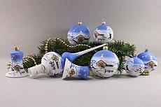 Weihnachtskugeln Winterlandschaft hellblau