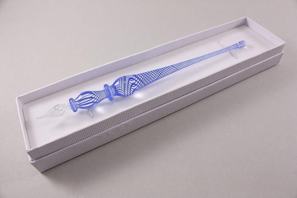 Glasfederhalter blauer Faden transparent