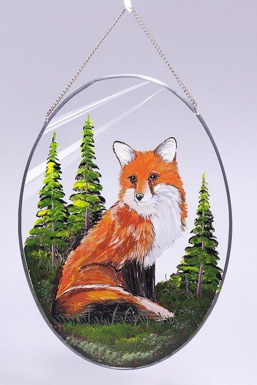 Glasscheibe zum Aufhängen mit handgemaltem Motiv Fuchs