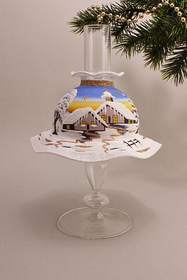 Teelichthalter Set Lampe mit Schirmchen hellblau
