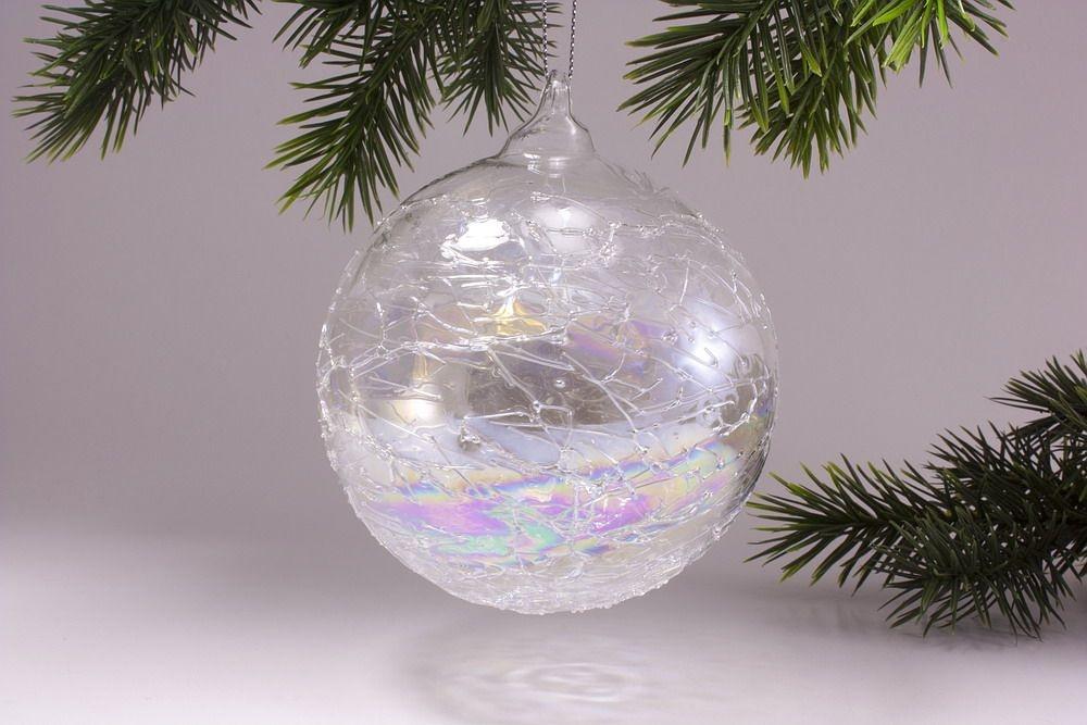 Glaskugel 10cm mit Seifenblasen-Optik in klar