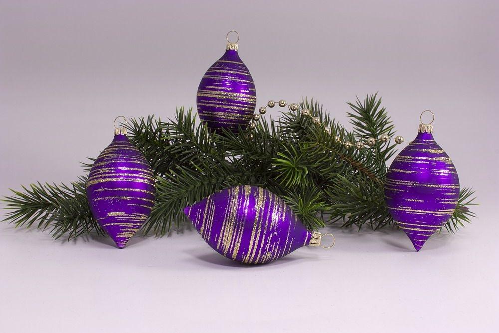 Christbaumkugeln Violett.4 Zitronen Violett Matt Gold Geringelt Weihnachtskugeln Aus Lauscha