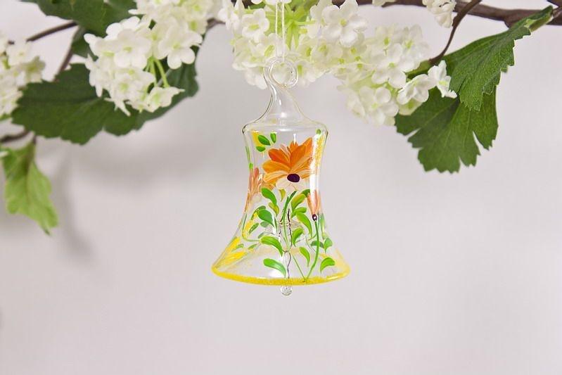 Glasglöckchen 4 cm mit Blumenmotiv in orange