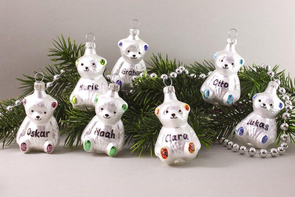 Teddy mit Name oder Jahreszahl für den Weihnachtsbaum
