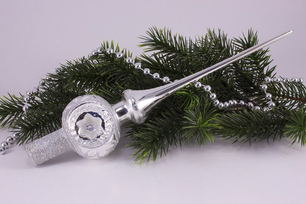 Christbaumspitze Silber Reflex